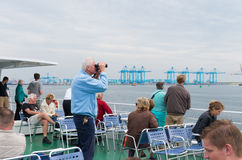 Tourists in rotterdam harbor Royalty Free Stock Image