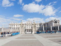 Tourists at the Royal Palace in Madrid Stock Photos