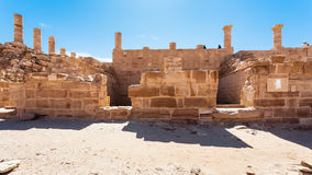 Tourists on Ruins of Great Temple Petra town Stock Images
