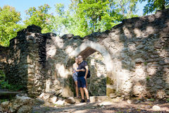 Tourists in Ruins of Sostyn castle. Beautiful young couple in old ruins of Sostyn castle, near Koprivnice. Beautiful Czech landscape Stock Photo
