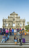 Tourists at ruins of st paul landmark in macau china Royalty Free Stock Photos