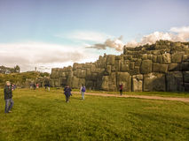 Tourists at Sacsayhuaman Fortrees in Cuzco Peru Stock Image