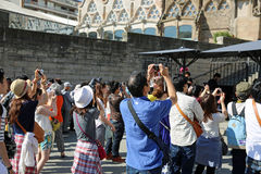 Tourists at Sagrada Familia Royalty Free Stock Photography