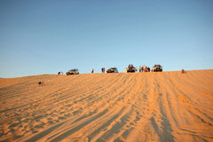 Tourists in Sahara Royalty Free Stock Images