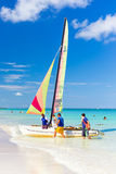 Tourists sailing on a catamaran in Varadero, Cuba Stock Photo