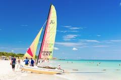 Tourists sailing on a catamaran in Varadero, Cuba Stock Photos