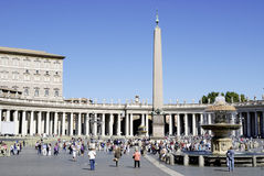 Tourists on the Saint Peters Square in Rome Stock Photo
