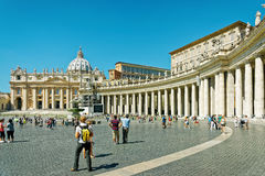 Tourists and Saint Peters Square in Vatican of Italy Stock Image