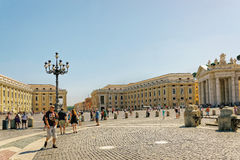 Tourists and Saint Peters Square in Vatican in Italy Stock Photos