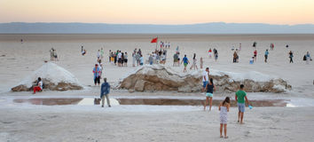 Tourists at salt lake Chott El Jerid Royalty Free Stock Photo