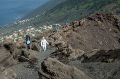 Tourists at San Antonio Volcano, La Palma, Canary Islands Royalty Free Stock Image