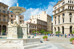 Tourists at San Francisco Square in Old Havana Stock Image