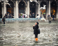 Tourists in San Marco square with high tide, Venice, Italy. Stock Photos