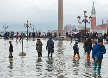 Tourists in San Marco square with high tide, Venice, Italy. Stock Image
