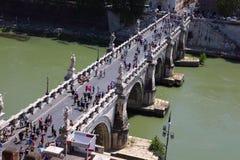 Tourists on Sant' Angelo Bridge Stock Photography
