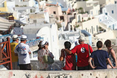 Tourists in Santorini Stock Photo