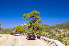 Tourists at a scenic point in yosemite national park Stock Photography
