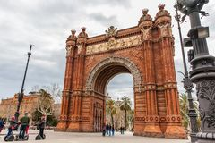 Tourists on a Segway tour at the Triumphal Arch in Barcelona. Spain Stock Photos