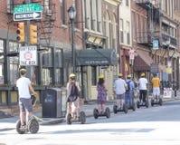 Tourists on Segways on Chestnut Street, Philadelphia Royalty Free Stock Photo