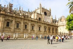 Tourists at Sevilla cathedral Royalty Free Stock Image