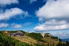 Tourists shalter. Dochia hut in Ceahlau mountain, close to Toaca's edge Stock Photos