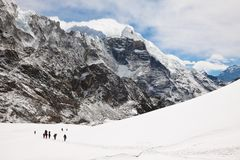 Climbers and sherpas at Cho La Pass. Trek to Everest base camp. Royalty Free Stock Photography