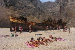 Tourists on Ship wreck beach Zakynthos Royalty Free Stock Photo