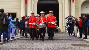 Tourists shoot the guard of honor ceremony at Prague Castle. 2019 royalty free stock photos