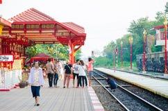 Tourists are shooting at Hua Hin Railway Station. Royalty Free Stock Photo