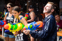 Tourists Shooting Water Guns at Songkran Festival in Bangkok, Th Royalty Free Stock Image