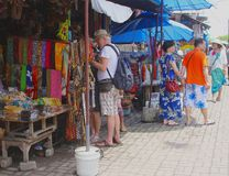 Shopping at the arts market in Ubud, Bali, Indonesia  Royalty Free Stock Photography