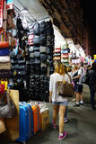 Tourists shop for bargain priced fashion and casual wear in Mong Stock Image