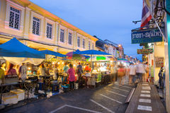 Tourists shop at night market of Phuket Stock Photos