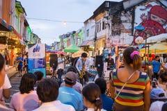 Tourists shop at night market of Phuket Stock Image