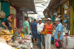 Tourists and shoppers walking by Acre's turkish bazaar Royalty Free Stock Photography