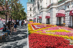 Tourists and shoppers walking around GUM in Moscow Royalty Free Stock Photo