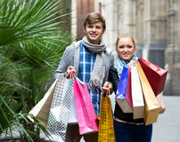 Tourists shopping Stock Images