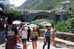 Tourists Shopping In Mostar Stock Photography