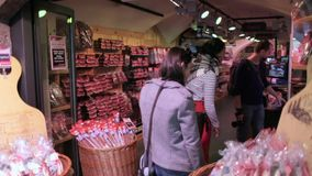 Tourists shopping at Innsbruck's Old Town stock footage