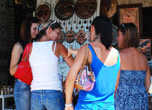 Tourists Shopping in Mostar Royalty Free Stock Photo