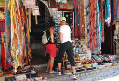 Tourists Shopping in Mostar Royalty Free Stock Photos