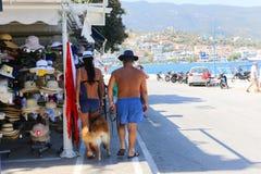 Tourists shopping at Poros - Greece island Stock Photo