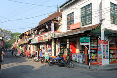 Tourists shopping on the shops of Fort Cochin Stock Image