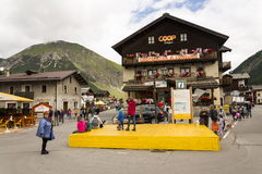 Tourists shopping on the streets of duty-free area on 1 August 2016 in Livigno, Italy. Stock Image