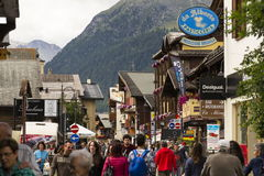 Tourists shopping on the streets of duty-free area on 1 August 2016 in Livigno, Italy. Royalty Free Stock Photos