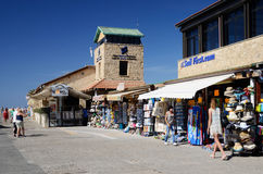 Tourists shopping and walking at New Paphos harbour in Paphos,Cyprus Royalty Free Stock Photography