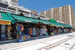 Tourists shops along Benalmadena promenade. Stock Image