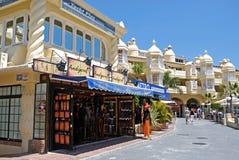 Tourists shops in Benalmadena marina. Stock Image