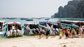 Tourists on the shore of island of Phi Phi Doh, Thailand Stock Photos