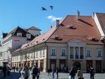 Tourists in Sibiu Stock Photo